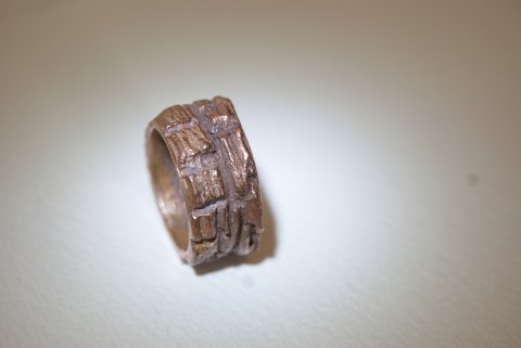 Copper driftwood ring